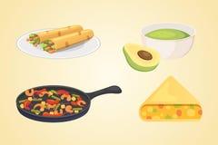 墨西哥烹调动画片盘例证集合传染媒介 免版税库存图片