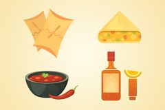墨西哥烹调动画片盘例证集合传染媒介 免版税库存照片