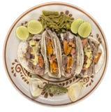 墨西哥牛肉炸玉米饼顶视图 库存图片