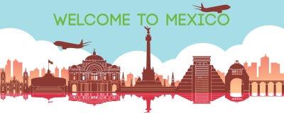 墨西哥的著名地标,旅行目的地,剪影设计,梯度颜色 皇族释放例证
