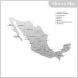 墨西哥的详细的地图有地区的 图库摄影