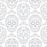 墨西哥糖头骨传染媒介无缝的样式,万圣夜糖果头骨背景,死的庆祝的天, Calavera设计 皇族释放例证