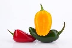 墨西哥胡椒以子弹密击红色黄色 免版税库存图片