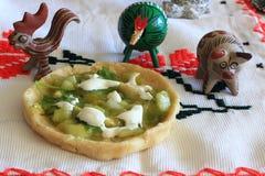墨西哥辣调味汁Verde Gordita和黏土动物 免版税库存图片