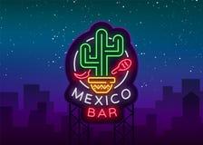 墨西哥酒吧是一个氖式商标 霓虹灯广告,在墨西哥食物的设计模板 明亮的发光的横幅,夜生活 向量例证