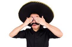 戴墨西哥阔边帽帽子的滑稽的人被隔绝 库存照片