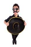 戴墨西哥阔边帽帽子的滑稽的人被隔绝 免版税图库摄影