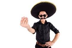 戴墨西哥阔边帽帽子的滑稽的人被隔绝 免版税库存照片