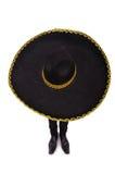 戴墨西哥阔边帽帽子的滑稽的人被隔绝 库存图片