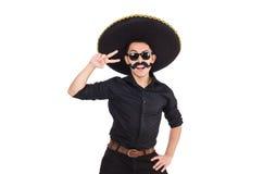 戴墨西哥阔边帽帽子的滑稽的人 库存照片