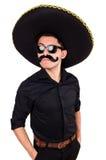 戴墨西哥阔边帽帽子的滑稽的人 免版税库存照片