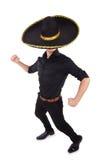 戴墨西哥阔边帽帽子的滑稽的人 库存图片