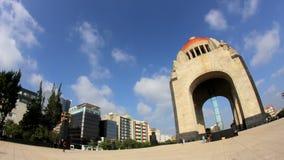 墨西哥革命纪念碑 (充分的SHOT-TIME LAPSE-FISHEYE-ZOOM) 股票录像