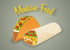 墨西哥食物例证以传染媒介格式 炸玉米饼和面卷饼 免版税库存照片