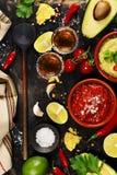 墨西哥食物和龙舌兰酒射击 免版税库存照片