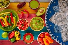 墨西哥食物混杂的鳄梨调味酱捣碎的鳄梨酱烤干酪辣味玉米片辣味番茄酱 免版税库存图片