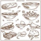 墨西哥食物烹调传统盘导航餐馆菜单的剪影象 库存例证