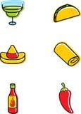 墨西哥食物的图标 库存照片
