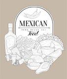 墨西哥食物葡萄酒剪影 免版税库存图片