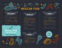 墨西哥食物餐馆菜单,与辣椒,阔边帽,炸玉米饼,烤干酪辣味玉米片,面卷饼剪影象的模板设计  皇族释放例证