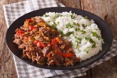 墨西哥食物ropa vieja :在西红柿酱的炖牛肉与vegetabl 免版税图库摄影