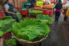 墨西哥- 2017年10月19日:与Nopales的墨西哥市场在销售中 免版税库存图片