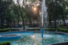 墨西哥- 2017年10月19日:墨西哥与地方公园的早晨都市风景有喷泉的 免版税库存图片