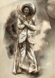 墨西哥 暴徒 一个手拉的例证,徒手画的sketchi 库存例证