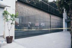 墨西哥- 9月19 :大被打碎的商店窗口由于earthq 库存照片