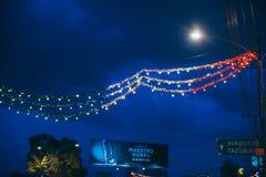墨西哥- 9月19 :用颜色装饰的街道的 库存照片