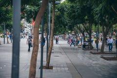 墨西哥- 9月20 :走在墨西哥城的人们在地震以后的街市天 免版税库存照片