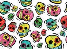 墨西哥头骨无缝的样式 库存例证