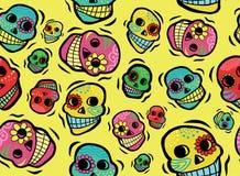 墨西哥头骨无缝的样式 皇族释放例证