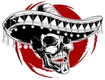 墨西哥头骨纹身花刺 图库摄影
