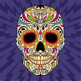 墨西哥头骨,原始的样式 向量 免版税库存照片