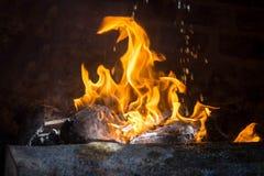 墨西哥temascal篝火的火焰 库存图片