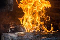 墨西哥temascal篝火的火焰 免版税库存照片
