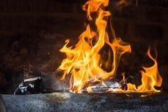 墨西哥temascal篝火的火焰 图库摄影