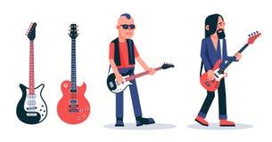墨镜的低音吉他球员在低劣的样式 库存例证