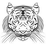 墨水剪影老虎的传染媒介风格化面孔 库存图片
