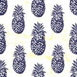 墨水手拉的无缝的样式用菠萝 图库摄影