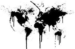 墨水泼溅物世界 免版税库存图片