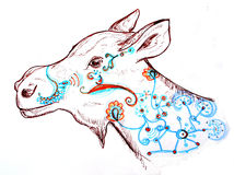 墨水笔被画的fantazy麋 免版税库存图片