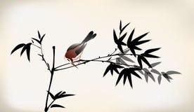 墨水被绘的竹子和鸟 皇族释放例证