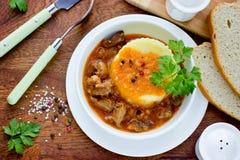 墩牛肉用小汤和土豆泥 免版税图库摄影
