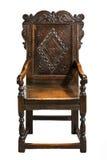 壁板椅子,第二个一半17世纪雕刻了橡木 库存图片