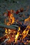 壁炉和香肠 图库摄影