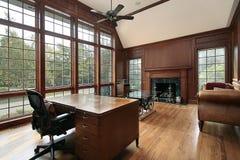 壁炉图书馆大理石木头 免版税库存照片