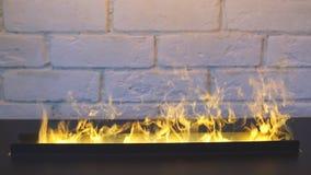 壁炉在家 方便的房子 温暖的空间 股票录像