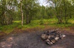 壁炉在森林里 免版税库存照片